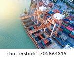 container ship in import export ... | Shutterstock . vector #705864319