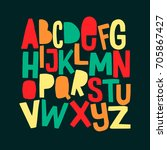 cartoon funny comics font. hand ... | Shutterstock .eps vector #705867427
