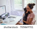 Stock photo cat in office 705869701
