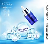 ice cooling serum collagen and...   Shutterstock .eps vector #705872047