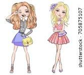 cute beautiful girls in t shirt ... | Shutterstock .eps vector #705875107