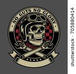 vintage biker skull with... | Shutterstock .eps vector #705880414