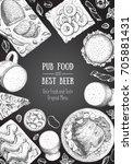 pub food frame vector... | Shutterstock .eps vector #705881431