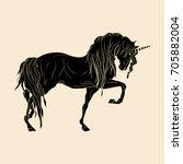 black unicorn isolated on beige. | Shutterstock .eps vector #705882004