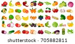 set fruits and vegetables and... | Shutterstock .eps vector #705882811