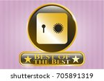 gold shiny badge with safe ...   Shutterstock .eps vector #705891319