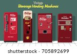 vector set of beverage vending... | Shutterstock .eps vector #705892699