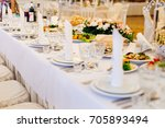 table set for an event party or ... | Shutterstock . vector #705893494