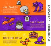 set of linear halloween banners ... | Shutterstock .eps vector #705893905