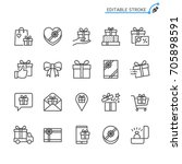 gift line icons. editable... | Shutterstock .eps vector #705898591