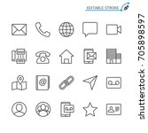 contact line icons. editable... | Shutterstock .eps vector #705898597