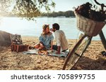 Couple In Love Enjoying Picnic...
