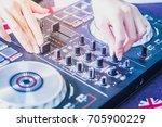 dj controller with audio mixing ... | Shutterstock . vector #705900229