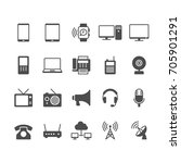 communication device flat icons. | Shutterstock .eps vector #705901291