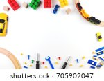 colorful kids toys frame on...