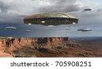 alien spaceship fleet above the ... | Shutterstock . vector #705908251