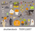 set of halloween sign  symbol ... | Shutterstock .eps vector #705911857