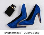 female shoes in dark blue color ... | Shutterstock . vector #705913159