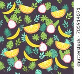 seamless tropical pattern with... | Shutterstock .eps vector #705914071