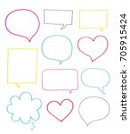 set of cute colorful blank... | Shutterstock .eps vector #705915424
