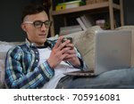young and modern freelance man... | Shutterstock . vector #705916081