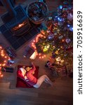 top view. christmastime  a... | Shutterstock . vector #705916639
