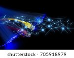 lan wire with fiber optic and... | Shutterstock . vector #705918979