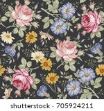 Stock vector seamless pattern beautiful fabric blooming realistic isolated flowers vintage background set 705924211