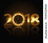 happy new year 2018 golden... | Shutterstock .eps vector #705933904
