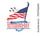 veterans day poster with usa... | Shutterstock .eps vector #705936604