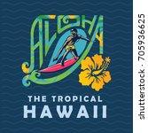 hawaii creative tourism logo   Shutterstock .eps vector #705936625