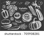 hand drawn set of vegetables | Shutterstock .eps vector #705938281