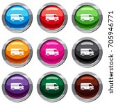 minibus taxi set icon isolated...   Shutterstock .eps vector #705946771