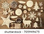 white festive christmas flat...   Shutterstock . vector #705949675