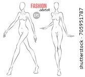 vector outline girl model... | Shutterstock .eps vector #705951787