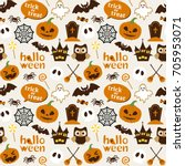 halloween vector seamless... | Shutterstock .eps vector #705953071
