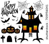 happy halloween. celebration.... | Shutterstock .eps vector #705956041