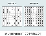 vector sudoku with answer 107.... | Shutterstock .eps vector #705956104