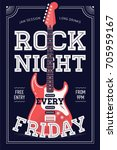 cool 'rock night every friday'... | Shutterstock .eps vector #705959167