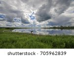 Small photo of The Onega River near the village of Turchasovo. Russia, Arkhangelsk region, Onega district