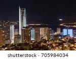 night scene of benidorm... | Shutterstock . vector #705984034