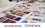 colorful fabric and thread... | Shutterstock . vector #705987604