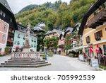 hallstatt  austria   october 05 ... | Shutterstock . vector #705992539
