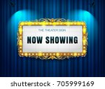 theater sign gold frame on... | Shutterstock .eps vector #705999169