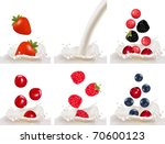 set with red raspberry ... | Shutterstock .eps vector #70600123