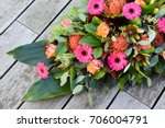Top View Of Fresh Flowers For...