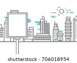 vector cityscape with blank... | Shutterstock .eps vector #706018954