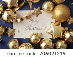 blank card and gold christmas...   Shutterstock . vector #706021219
