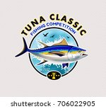 tuna fishing logo. vector... | Shutterstock .eps vector #706022905