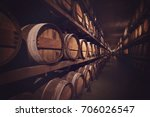 wine cellar with a row of... | Shutterstock . vector #706026547